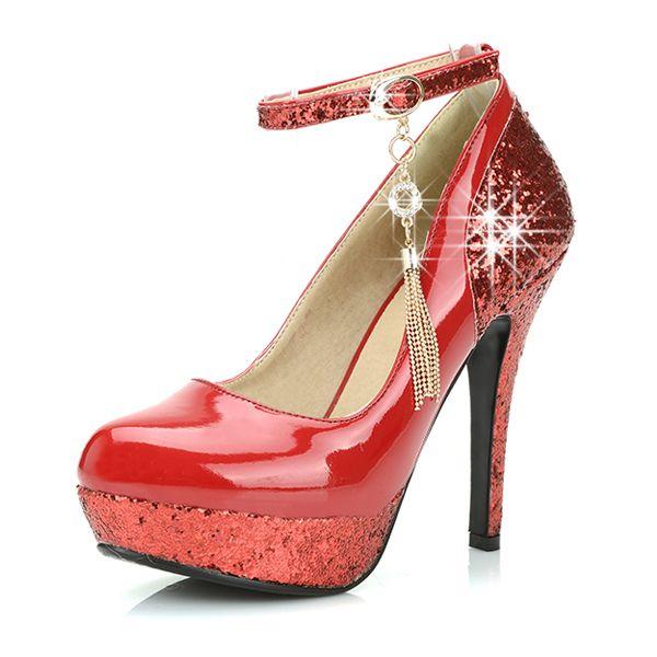 Bombas De Color Rojo Brillante Para Mujer De Los Zapatos De Charol Zapatos De Noche De Tacón Alto