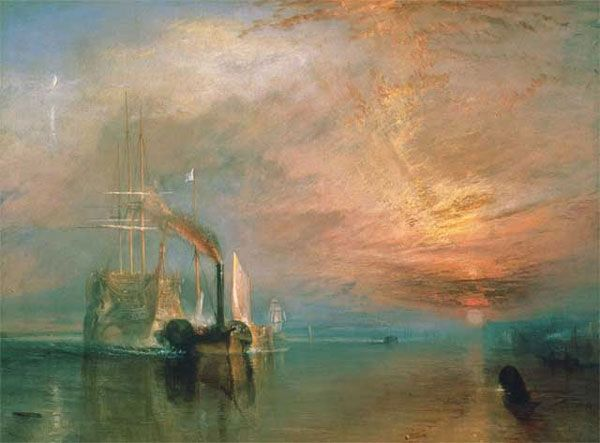The Fighting Temeraire tugged to her last berth to be broken up, 1838 Joseph Mallord William Turner.