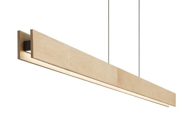 "Glide Glass and Glide Wood, Edge Lighting | Edge Lighting  These I-beam-shaped, 2""-tall-by-1.4""-wide linear, suspended, lensed luminaires are offered in glass and wood (shown) for indoor applications. Using 7.5W per linear foot, it is offered with warm-white (3000K) or very warm-white (2700K) LEDs at a CRI of 82-plus. The flat lens produces a 100-degree beam spread. Power is delivered via a 26""-long rectangular center canopy that feeds 24V power with a Class II electronic transformer."