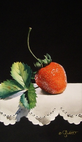 Strawberry with Leaves, painting by artist Jacqueline Gnott.     Wow! Looks real!