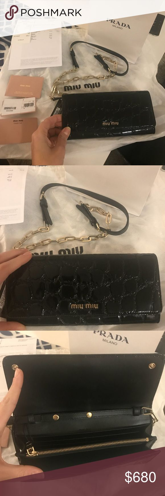 NWT Miu Miu WOC Gorgeous brand new wallet on chain, can be worn as evening clutch with strap taken off or as evening crossbody with metal strap. Black patent leather with silver details. Miu Miu Bags
