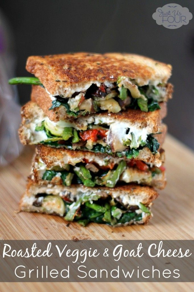 Roasted vegetable grilled cheese sandwich - love all the veggies but think it could do without the mayo to save some calories and, maybe only one type of cheese.