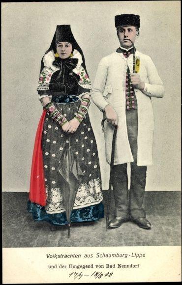 Ansichtskarte / Postkarte Trachten Schaumburg Lippe, Bad Nenndorf, Pfeiffe  ungelaufen, datiert 1908