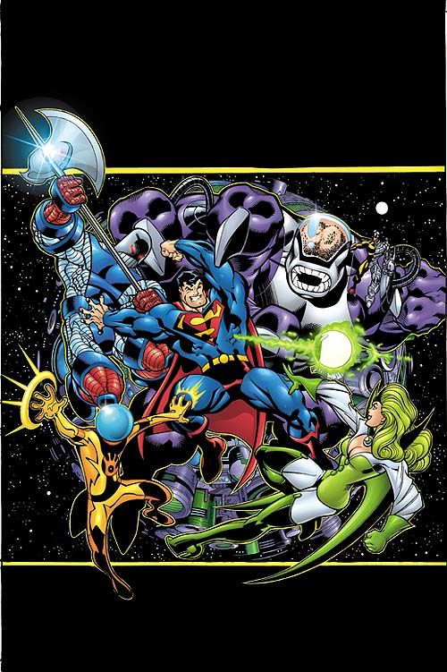The Fatal Five vs Superman by Ed McGuinness