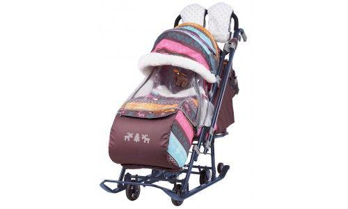 Санки коляска Ника Детям 7-3 NEW цвет в ассортименте Коляска комбинированная с трансформируемым кузовом с большими выдвижными колесами, и вы можете везти коляску по асфальту или по гладкому полу.