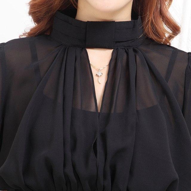 Women Blouse 2017 Casual Women'S Long Sleeved V-Neck Shirt Plus Size Blouses Ladies Office Ol Shirts Blusas Black L 3