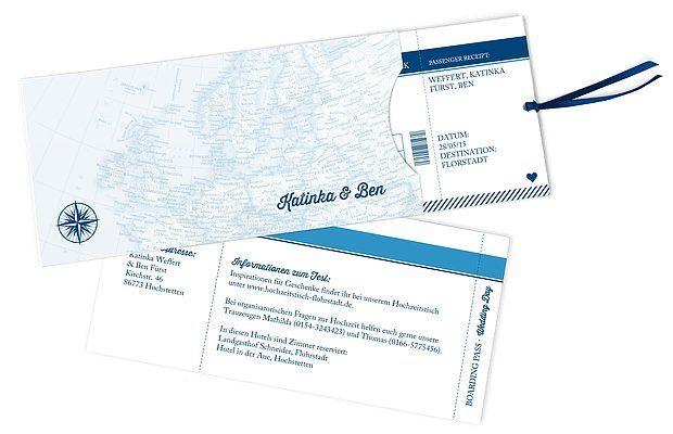 """Eure Bordkarte in eine wunderbare gemeinsame Zukunft als Ehepaar: die originelle Hochzeitseinladung """"Reise ins Glück""""."""