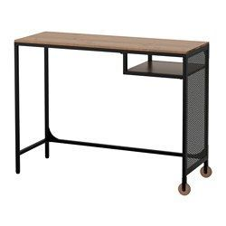 IKEA - FJÄLLBO, Laptop table, , With this rustic desk of metal and solid wood, you get a flexible and functional workspace which fits in a small space.The castors allow you to easily move the laptop table and use it where you like.Self-adhesive cable clips keep your cords in place and out of sight.Adjustable feet make the table stand steady also on uneven floors.