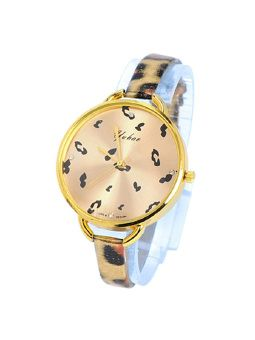 Goldcolor Glossy Leopard Wrist Watch