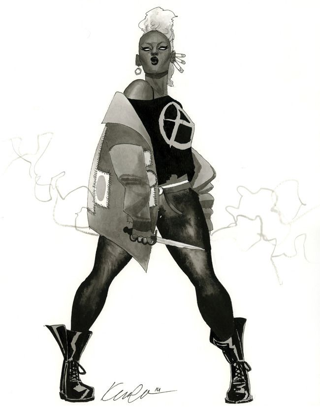 """kevinwada: """" Storm HeroesCon 2014 sketch Punk, mohawked, bladed up Storm. Ready to bust some sass and probably bust your ass. It's so much fun researching punk looks and finding new ways to portray..."""