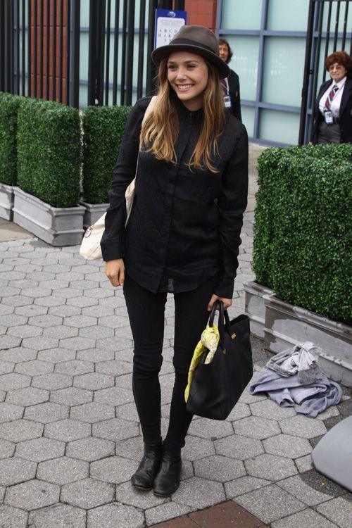 Women's Black Dress Shirt, Black Skinny Jeans, Black Leather Boots, Black…
