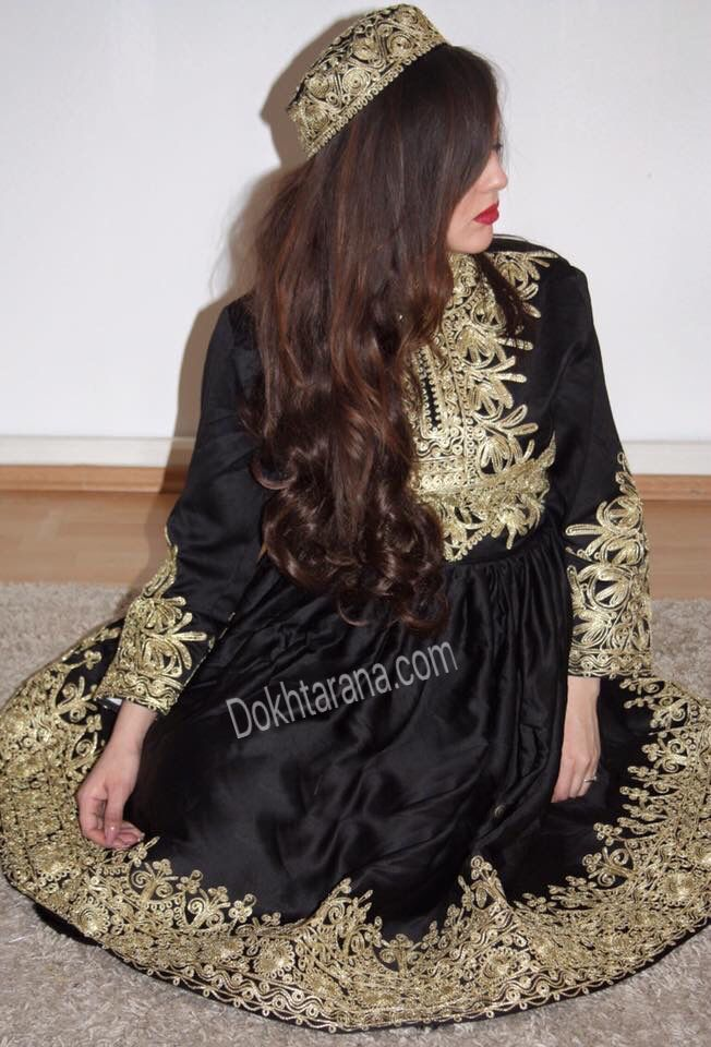 #black #gold #afghani #dress