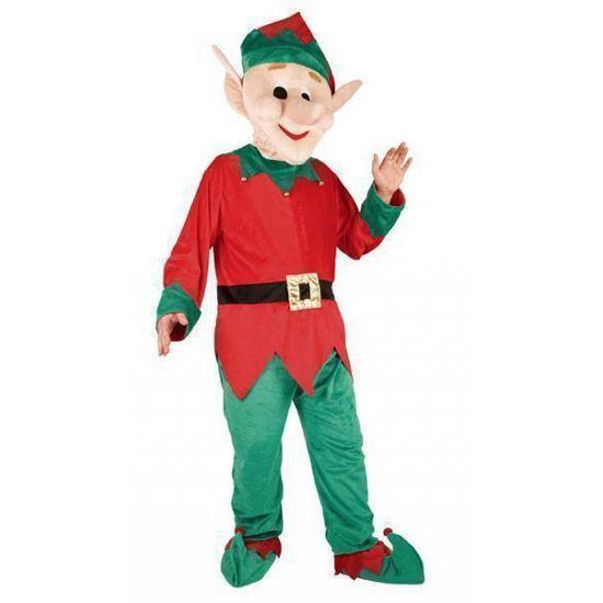 Kerst elfen kostuum met groot pluche masker. Een compleet kostuum met groot pluche masker van een elfenhoofd. Dit kostuum is one size M/L. Geschikt voor volwassenen.