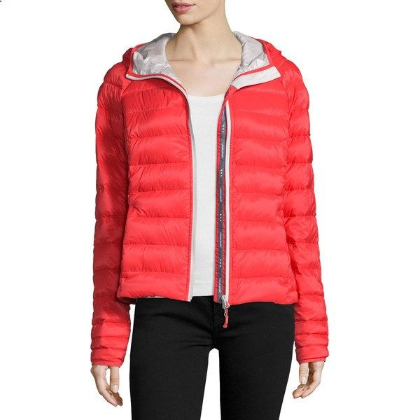 Canada Goose Brookvale Quilted Hoodie Puffer Jacket (228.910 CRC) ❤ liked on Polyvore featuring outerwear, jackets, black, lightweight jackets, canada goose jacket, insulated jacket, puffer jacket and slim fit jacket