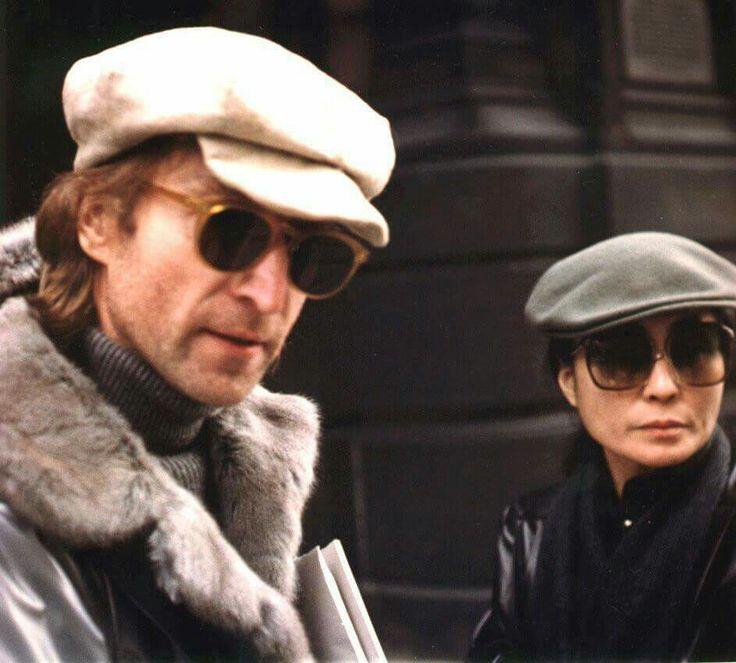 ♡♥John Lennon with Yoko Ono outside♥♡