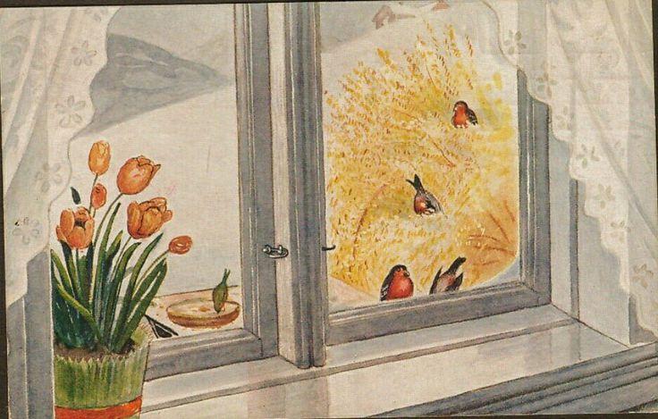 Julekort Otto Moe. Julenek/fugler, utg Mittet. Stemplet 1915