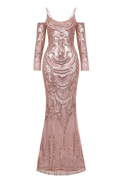 03a7560498 NAZZ COLLECTION VIENNA ROSE GOLD LUXE TRIBAL VIP ILLUSION SEQUIN MERMAID  MAXI DRESS