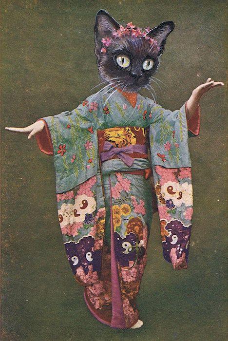 siamese cat geisha by foxglovepearly on Etsy, $15.00