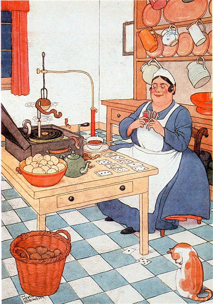 Heath Robinson contraption for peeling potatoes.