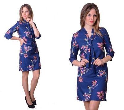 Sukienka Trapez Kokarda Granat Kwiaty PRODUCENT 38