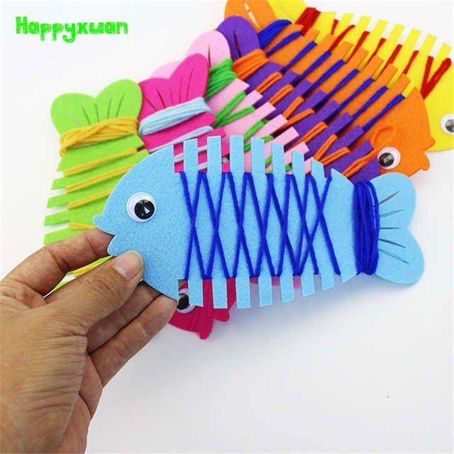 Happyxuan 5 stücke Feine Motor Fähigkeiten Spielzeug Fisch Wrapping Gewinde Handgemachte Filz Kindergarten Lehrmittel Montessori Pädagogisches Spielzeug