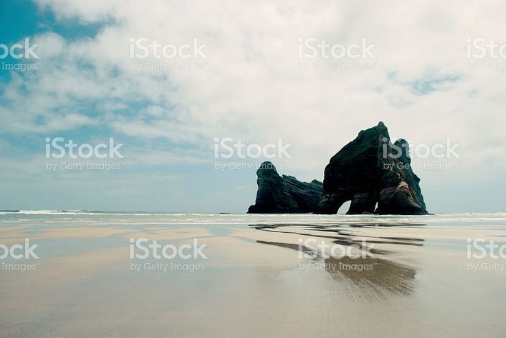 Archway Island, Wharariki Beach, Golden Bay, New Zealand royalty-free stock photo