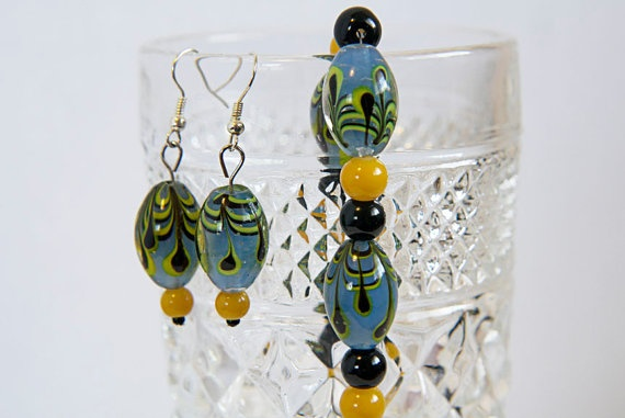 Blue and yellow glass bead earring and bracelet set
