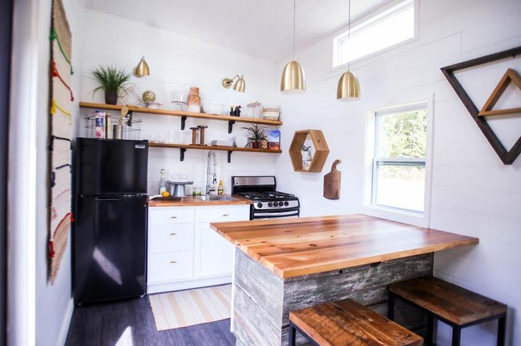 This layout is PERFECT  Kitchen w/ Large Butcher Block Counter - Tiny House Giveaway by Lamon Luther