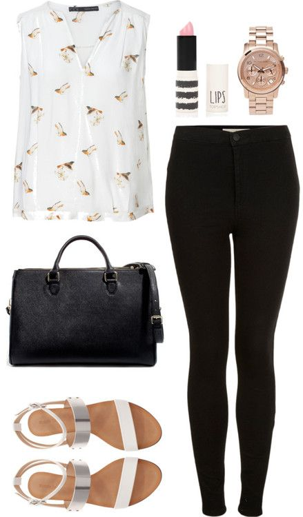 Untitled #453 by zoella-clothes featuring michael kors jewelry  Zara bird blouse / Topshop  / Zara  shoes / Zara  handbag / Michael Kors  jewelry, $355 / Topshop  (high school outfit | college/uni outfit)