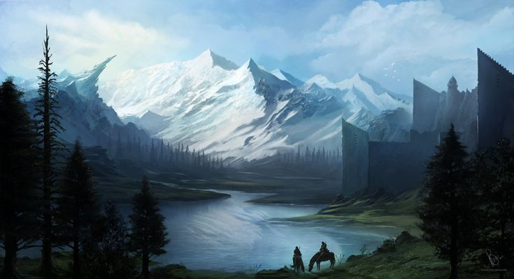 Fantasy Landscape by RaymondMinnaar lake castle fortress city mountains hunters warriors soldiers landscape location environment architecture   Create your own roleplaying game material w/ RPG Bard: www.rpgbard.com   Writing inspiration for Dungeons and Dragons DND D&D Pathfinder PFRPG Warhammer 40k Star Wars Shadowrun Call of Cthulhu Lord of the Rings LoTR + d20 fantasy science fiction scifi horror design   Not Trusty Sword art: click artwork for source