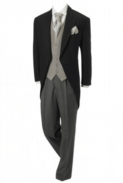 Traditional tails, grey waistcoat, silver cravat