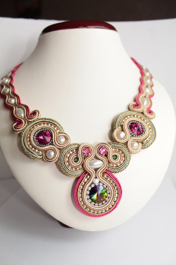 Fuchsia, Silver, Light Emerald,Cream soutache necklace.
