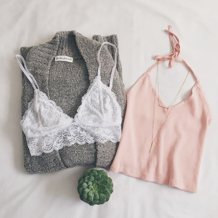 Peach top with lace bralette