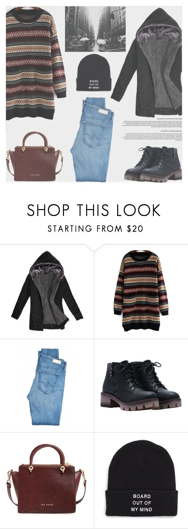 """""""Winner Song"""" by romwe ❤ liked on Polyvore featuring AG Adriano Goldschmied, Ted Baker and Vans"""