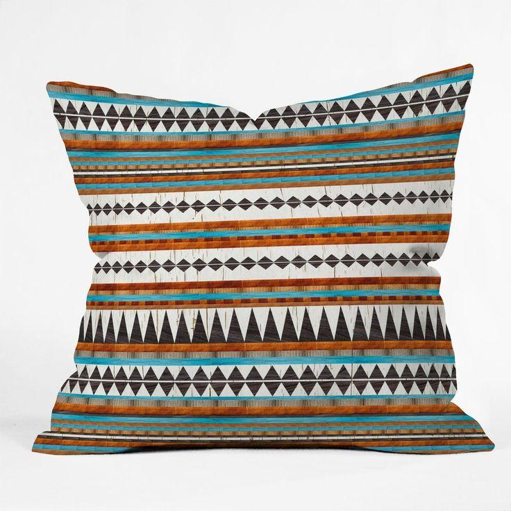 Brown Teal Navajo Throw Pillow Iveta Abolina