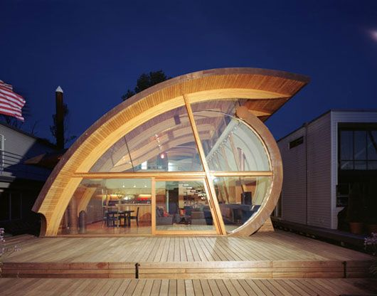 The unique modern wooden houses with a curved wooden by Robert Harvey ...