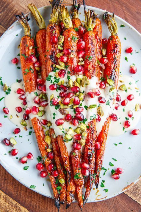 Maple Roasted Carrots in Tahini with Pomegranate and Pistachios