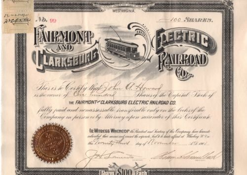 "Collecters Item: """"Rare"""" Fairmont And Clarksburg Electric Railroad Co. - Stock Certificate - 1901"