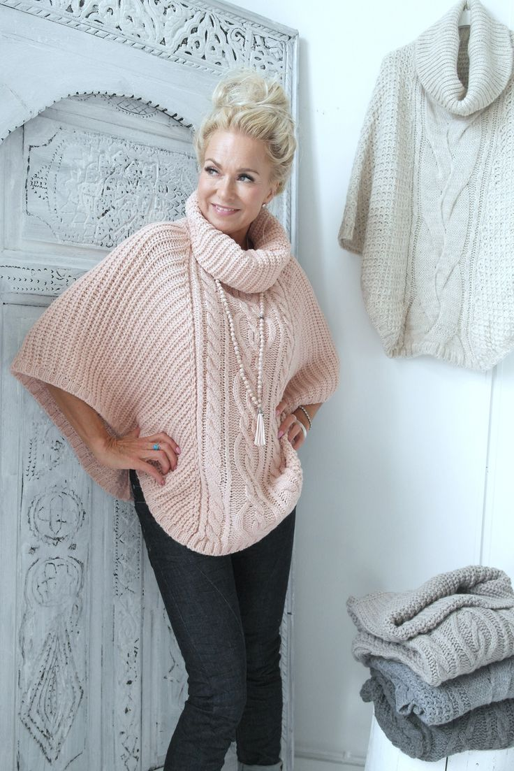 Chunkyknit Poncho, ROOSA - Neuleet - By Pia's Design