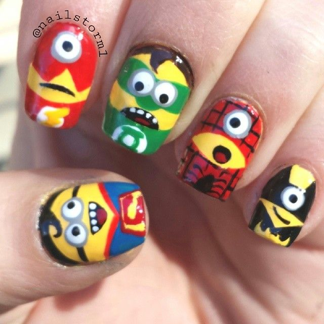 superhero minions by nailstorm1 #nail #nails #nailart