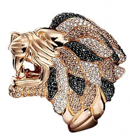 Crivelli Anello-leone in oro rosa con pavé di diamanti, Crivelli.
