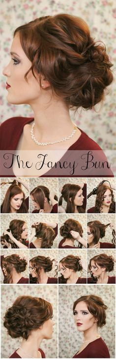 15 Lovely and Useful Hairstyle Tutorials (Curls + Twists Fancy Bun Updo)