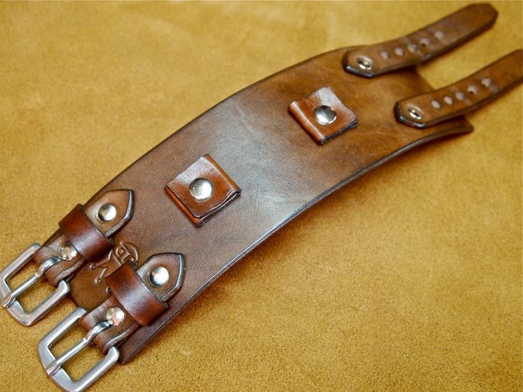 Leather Cuff Bracelet Brown Johnny Depp vintage by mataradesign