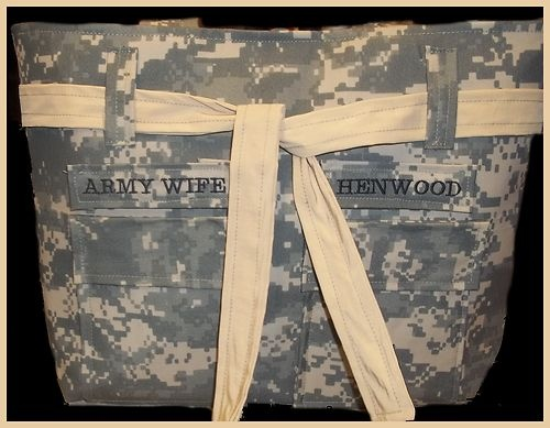 Authentic ACU Camo Fabric Army Wife Purse With Tan Accents