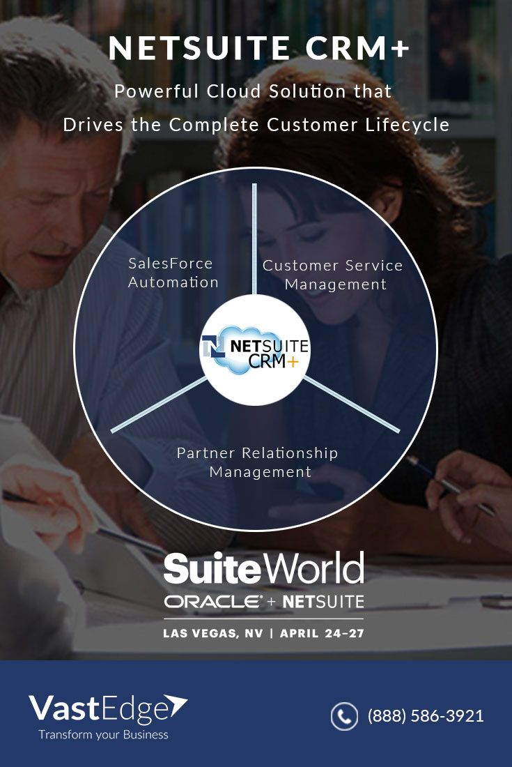 NetSuite CRM+ helps your company grow in the cloud with NetSuite+Oracle. It is one-solution cloud CRM that offers real-time 360 view of your customers and delivers powerful sales management capabilities, including Sales Force Automation, customer service, order management, partner management, ecommerce, and flexible customization support.