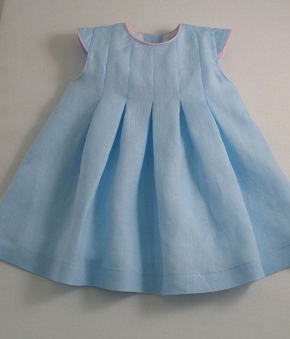 Ice Blue Linen Pleated Dress by patriciasmithdesigns on Etsy, $115.00