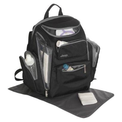 Jeep Organizer Easy Access Back Pack Diaper Bag - Black