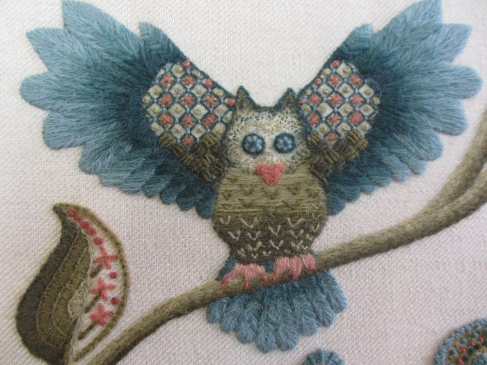 Owl, Jacobean crewel work, completed by Jane Francis, Royal School of Needlework  #embroidery