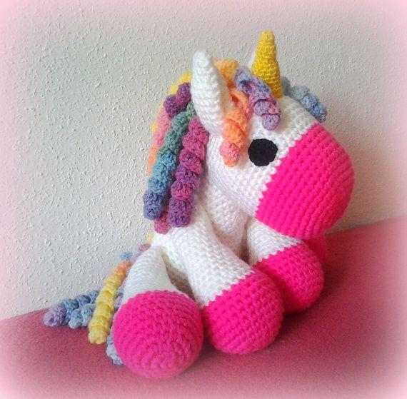 Crochet Unicorn XXL pink by CrochetlandRV on Etsy