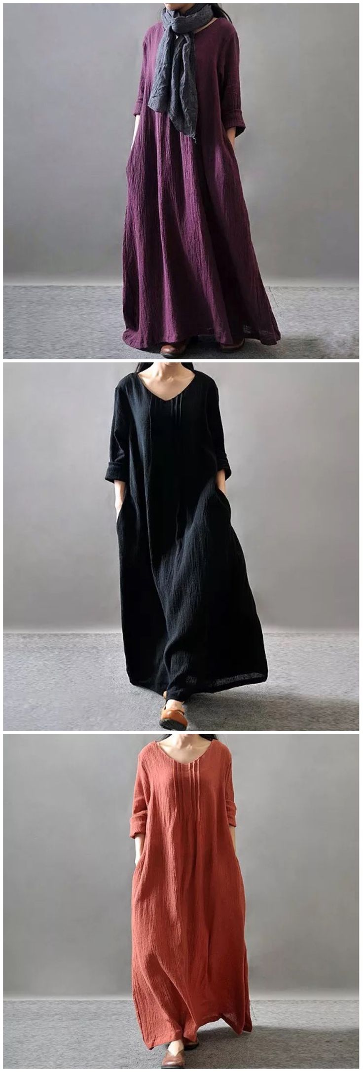 Fabric: Fabric is not stretch Season: Summer,Autumn, Spring, Type: Dress Pattern Type: Plain Sleeve Length: Bat Short Sleeve Color: Purple/Black/Orange Dresses Length: Maxi Style: Casual Loose Materia